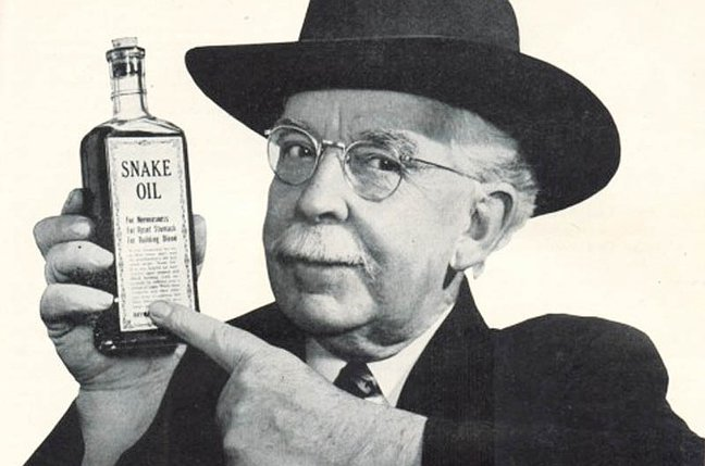 Image result for image of snake oil salesman