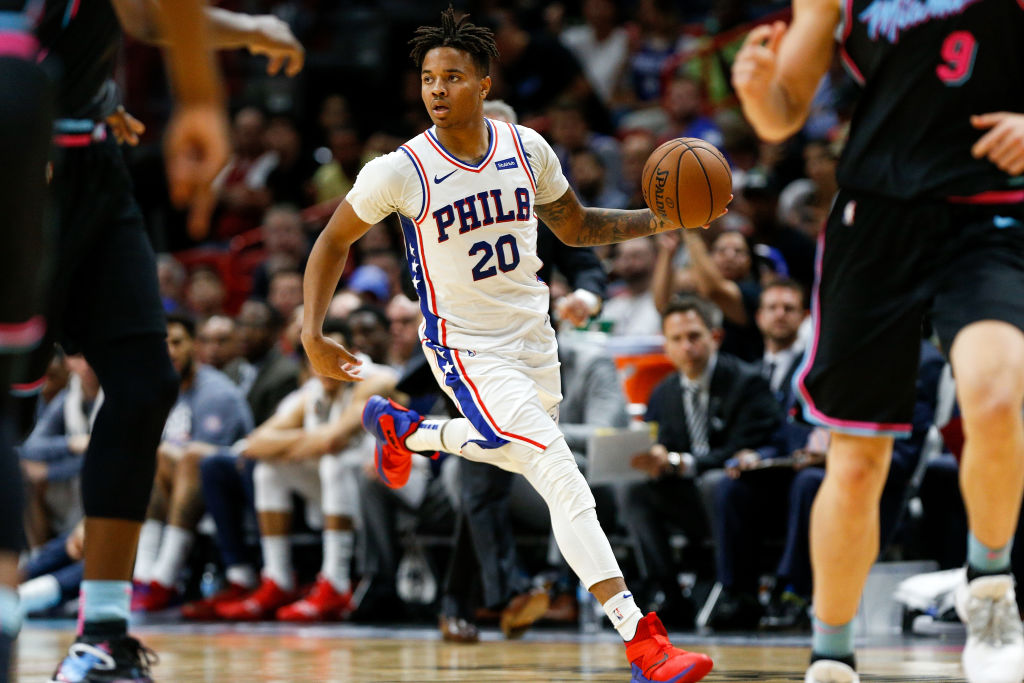 MIAMI, FL - NOVEMBER 12:  Markelle Fultz #20 of the Philadelphia 76ers dribbles up the court against the Miami Heat during the second half at American Airlines Arena on November 12, 2018 in Miami, Florida. NOTE TO USER: User expressly acknowledges and agrees that, by downloading and or using this photograph, User is consenting to the terms and conditions of the Getty Images License Agreement.  (Photo by Michael Reaves/Getty Images)