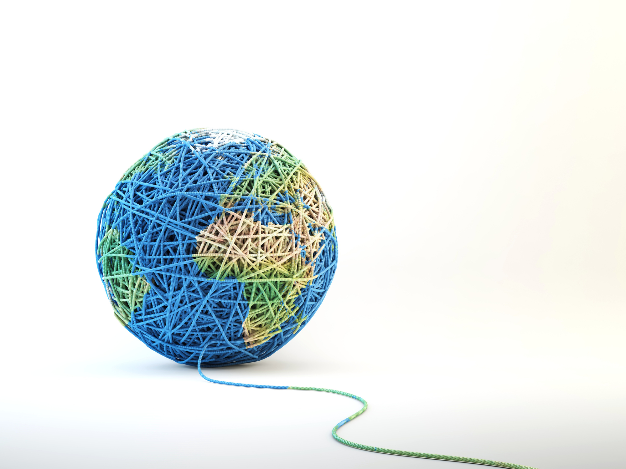 Globe made from ball of string, computer artwork.