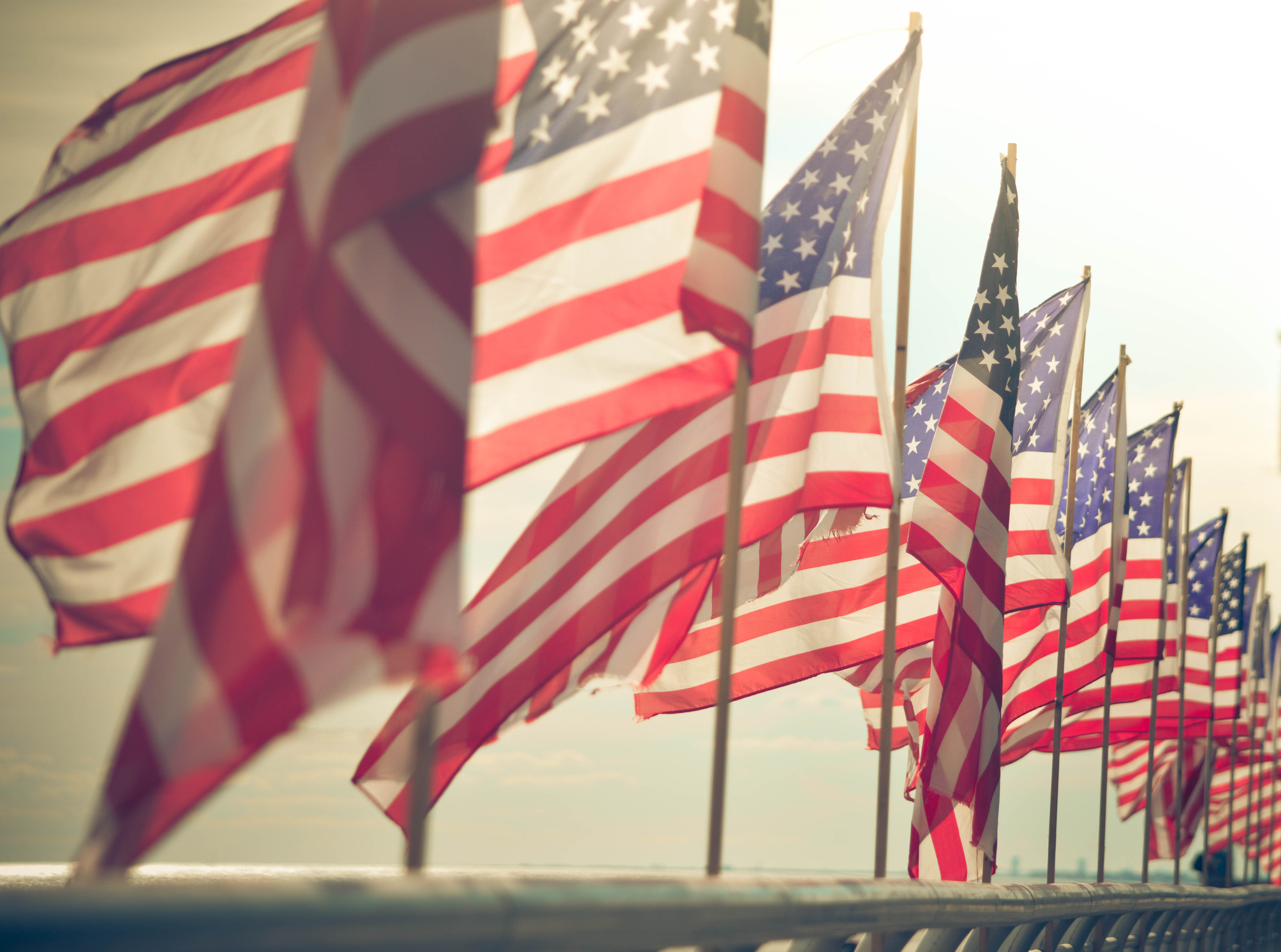 American Flags at the beach