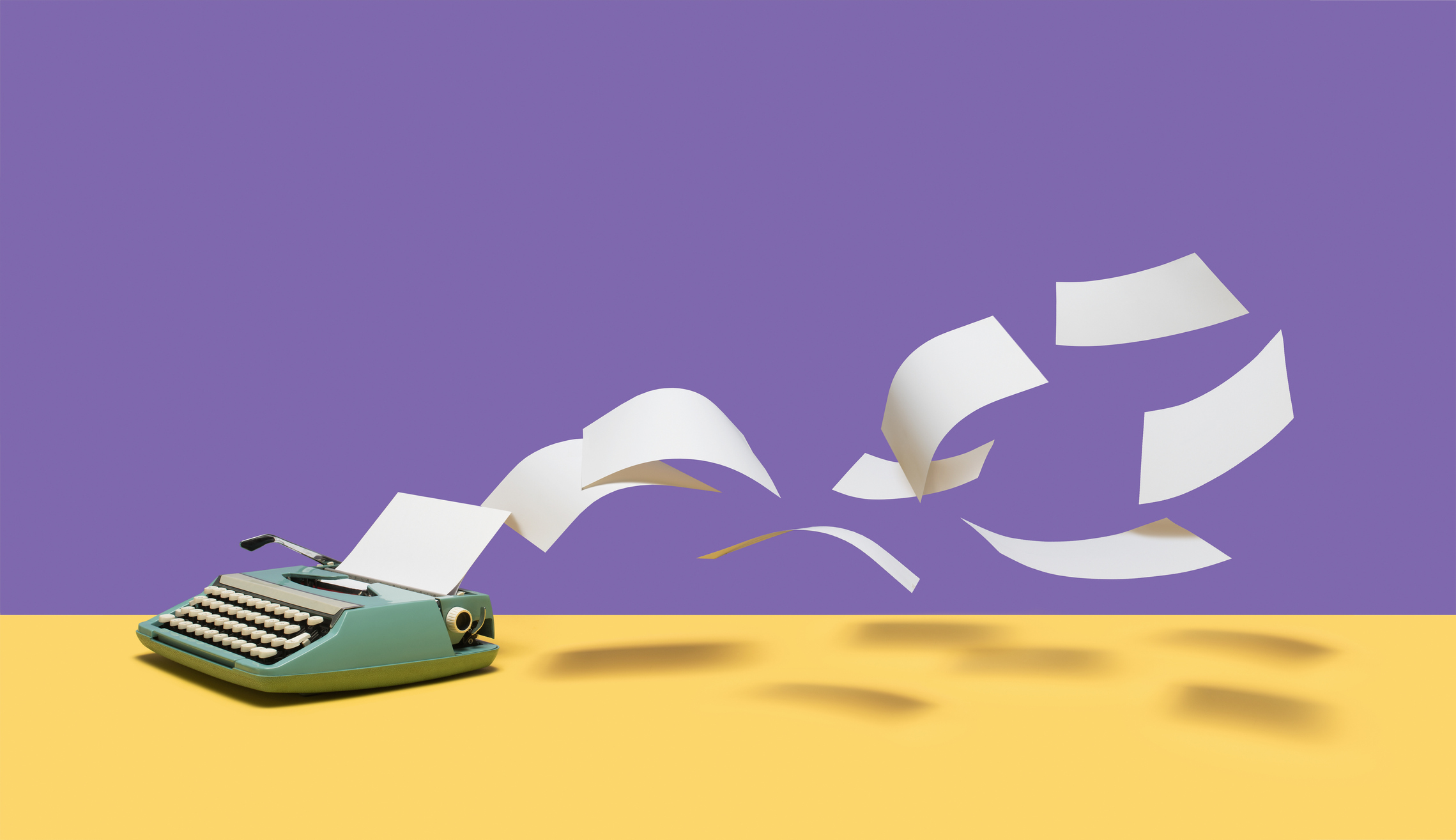 Sheets of blank white paper flying out of vintage, manual typewriter on yellow surface, purple background