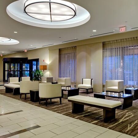 Lobby of the Crowne Plaza Rosemont.
