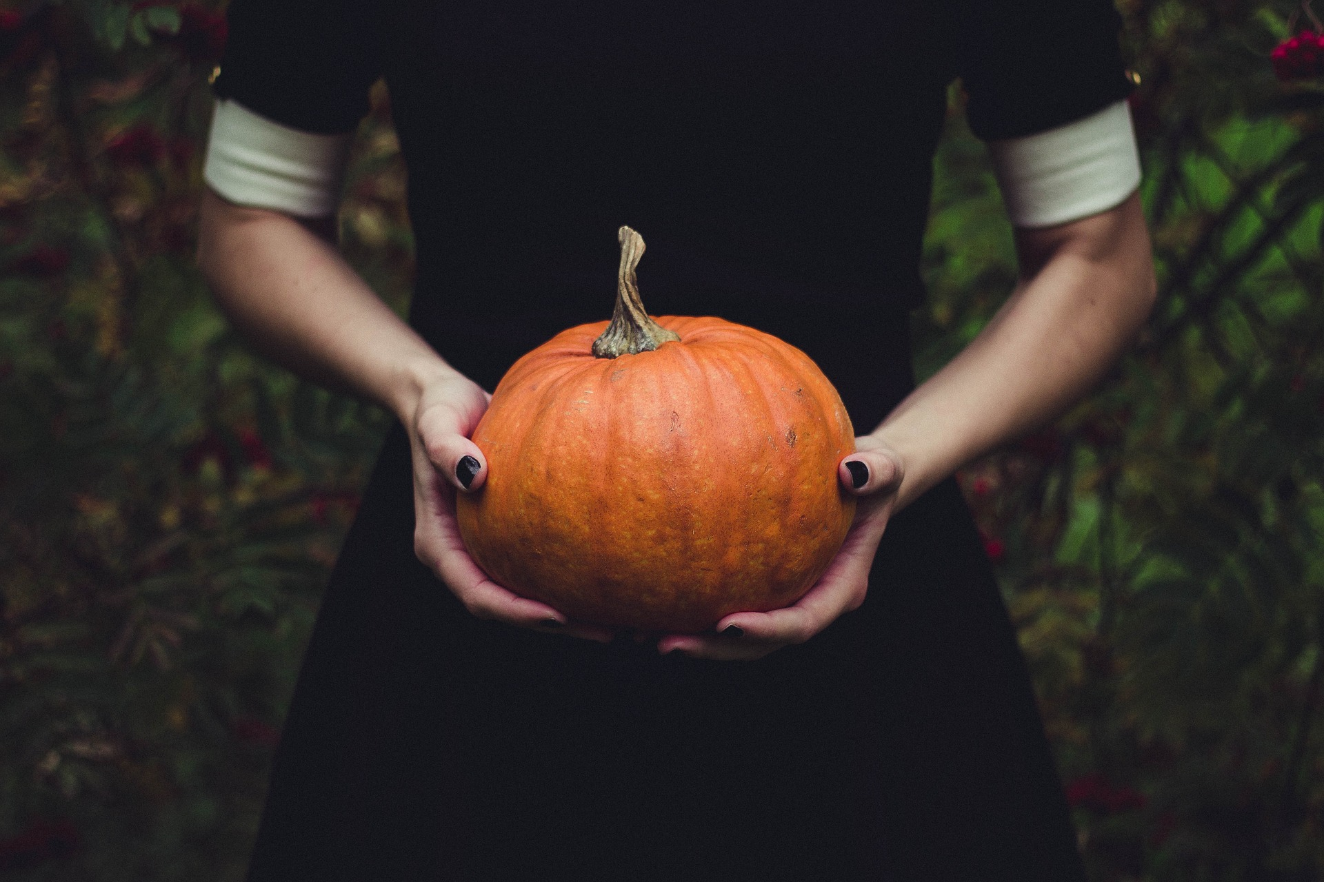 Girl holds pumpkin on Halloween.