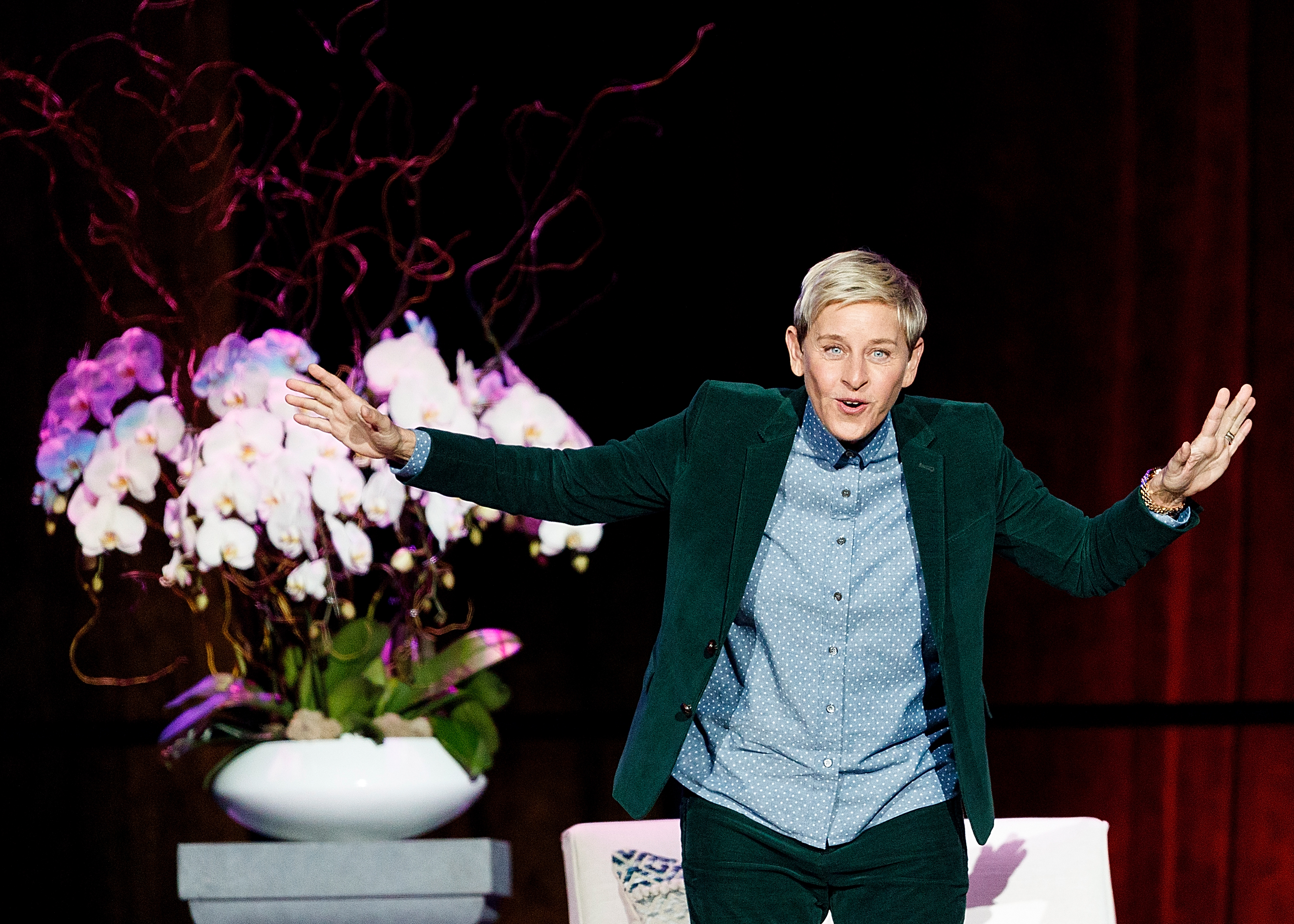 "VANCOUVER, BC - OCTOBER 19:  Comedian Ellen DeGeneres seen onstage during ""A Conversation With Ellen DeGeneres"" at Rogers Arena on October 19, 2018 in Vancouver, Canada.  (Photo by Andrew Chin/Getty Images)"