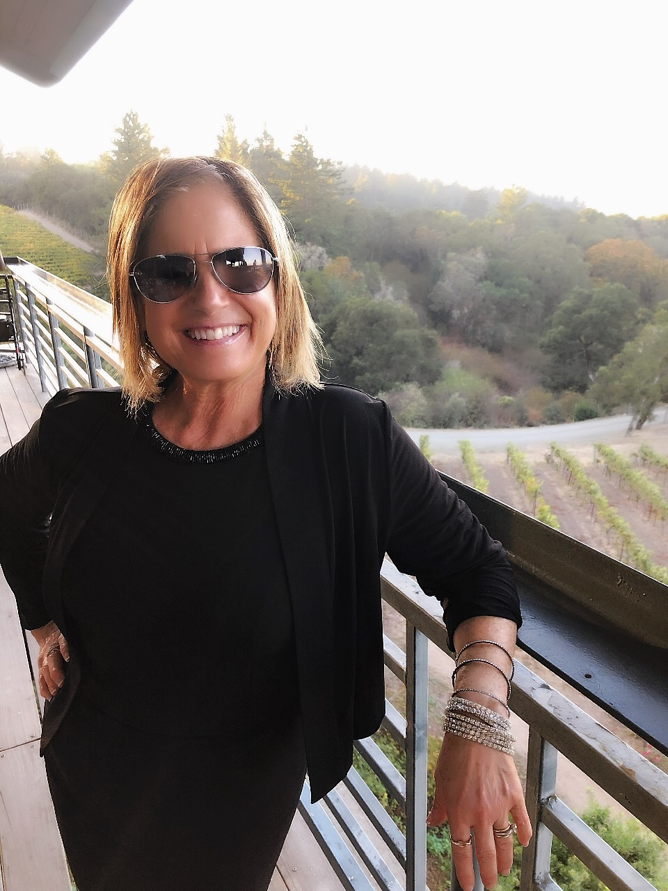 Turning 60 feels good. Carolee Belkin Walker at Fogarty Winery, 2018