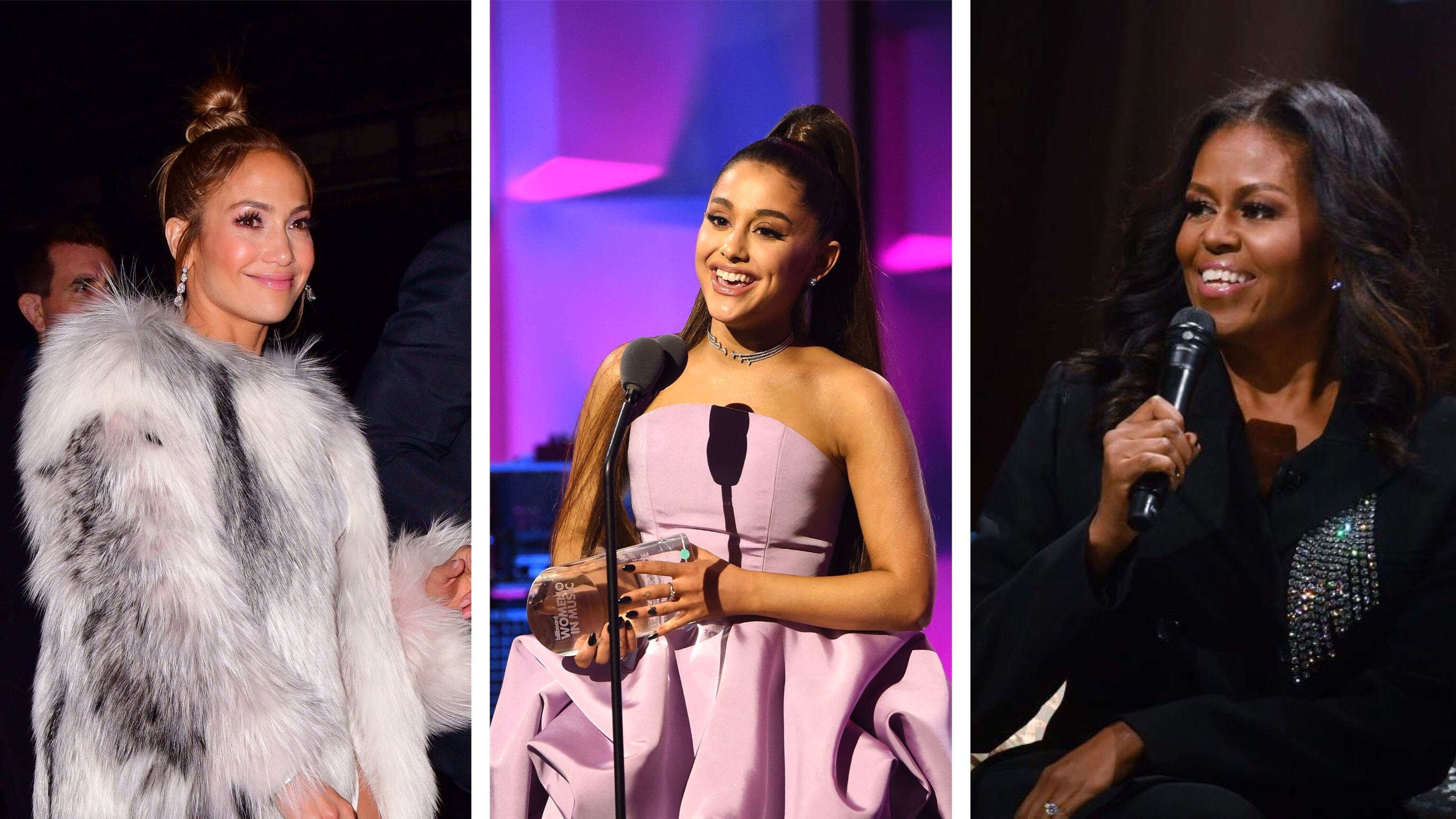 Jennifer Lopez (Photo by James Devaney/GC Images via Getty Images) // Ariana Grande (Photo by Kevin Mazur/Getty Images for Billboard) // Michelle Obama (Photo by Marvin Joseph/The Washington Post via Getty Images)