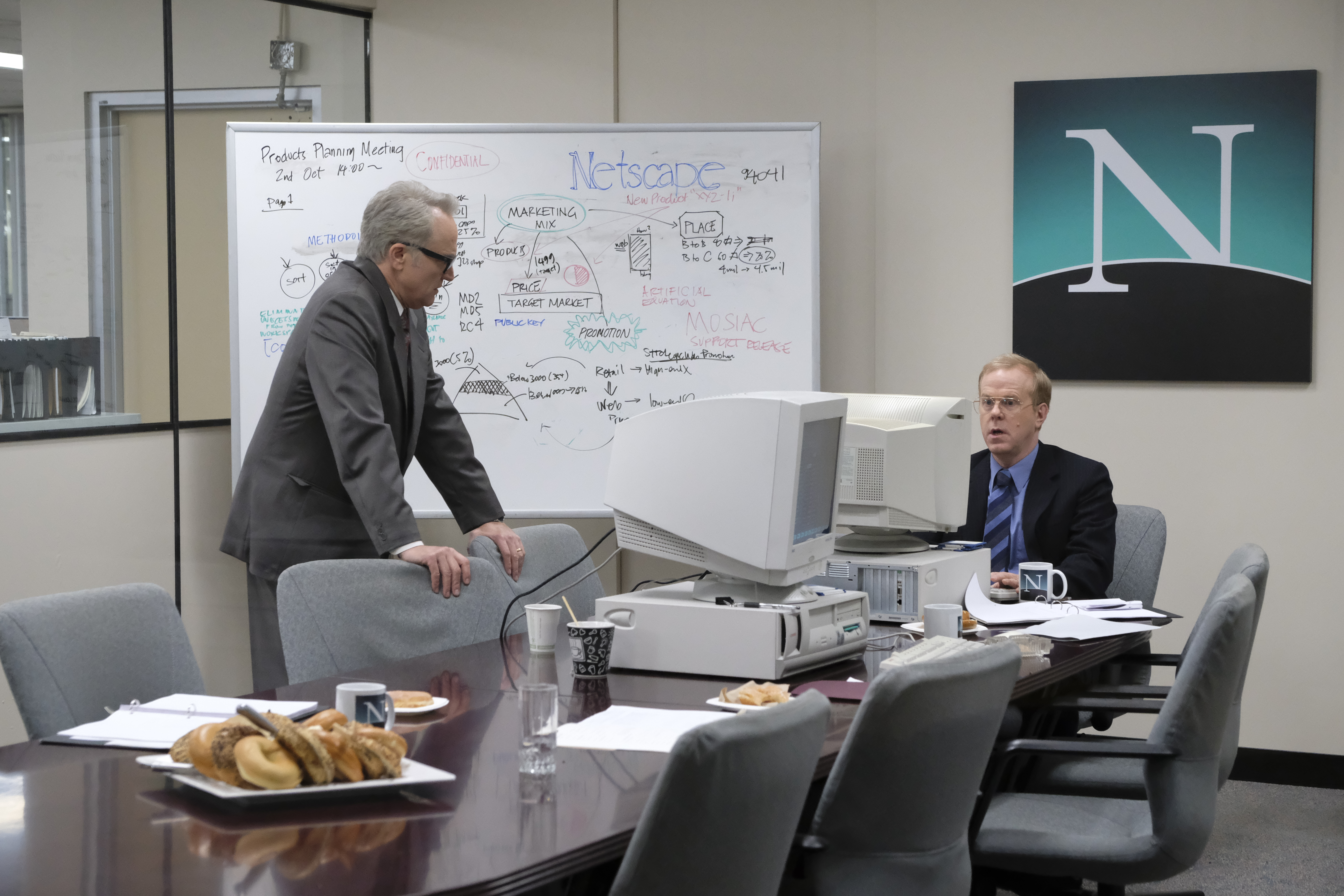 (Left to right) Bradley Whitford and John Murphy as Netscape pioneers James Barksdale and Jim Clark in National Geographic's VALLEY OF THE BOOM. (National Geographic/Bettina Strauss)