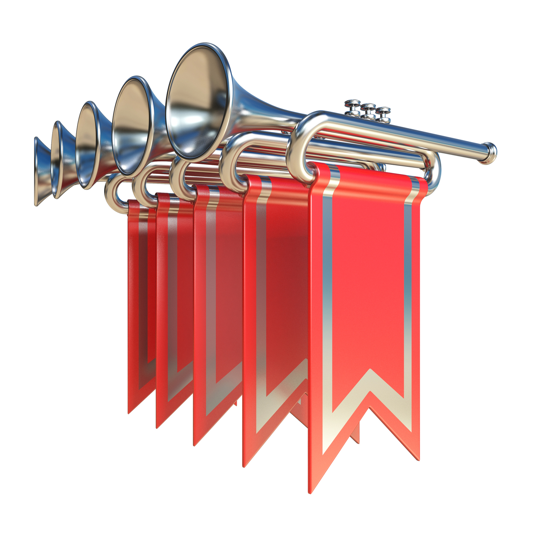 Fanfare five silver trumpets and red flags 3D render illustration isolated on white background