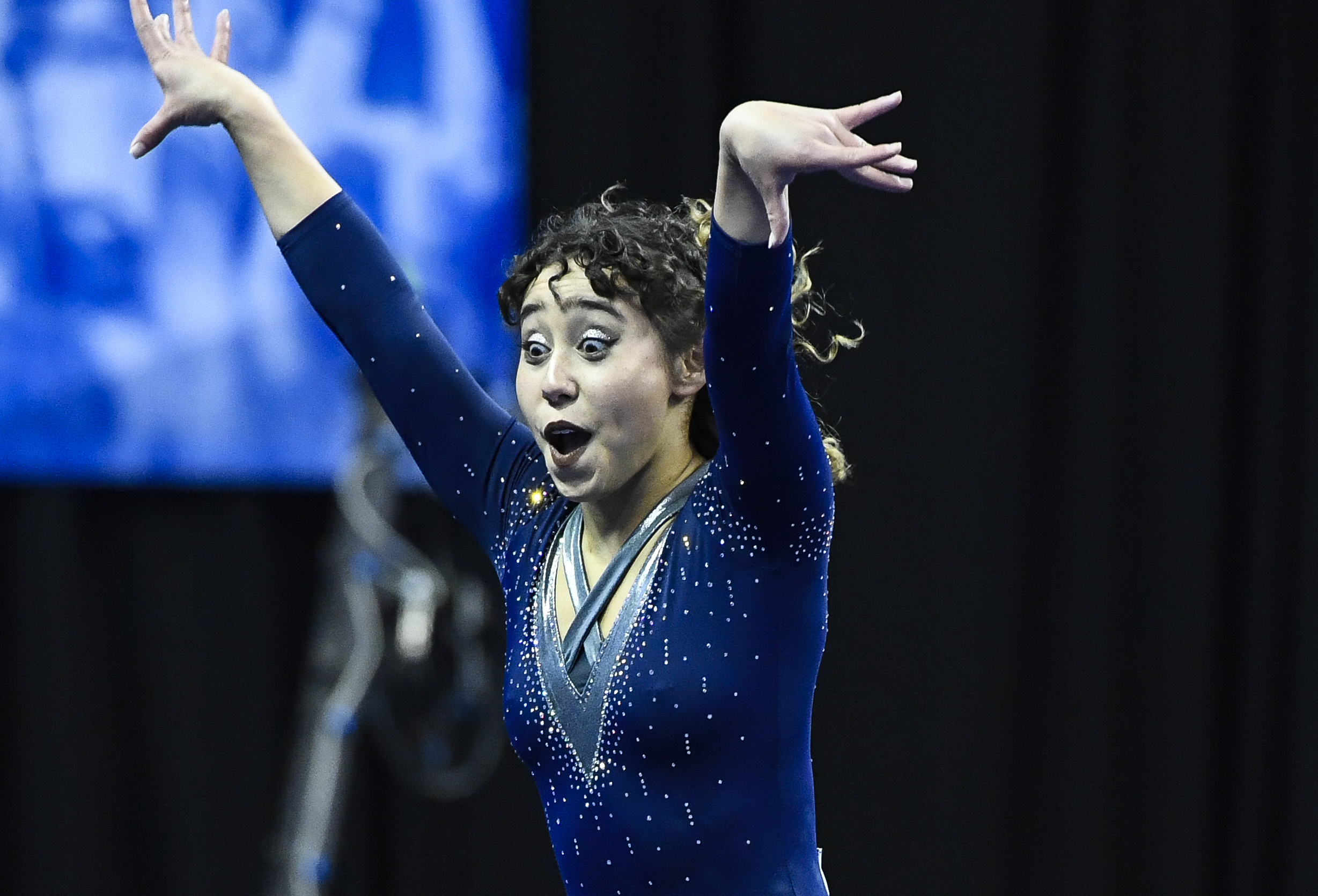 ST LOUIS, MO - APRIL 21: Katelyn Ohashi #563 of UCLA performs a floor routine during the Division I Women's Gymnastics Championship held at Chaifetz Arena on April 21, 2018 in St Louis, Missouri. UCLA won with a score of 197.5625 points. (Photo by Tim Nwachukwu/NCAA Photos via Getty Images)