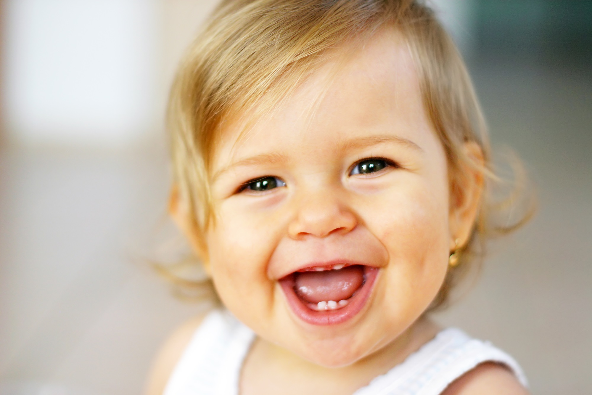Portrait of cute baby laughing