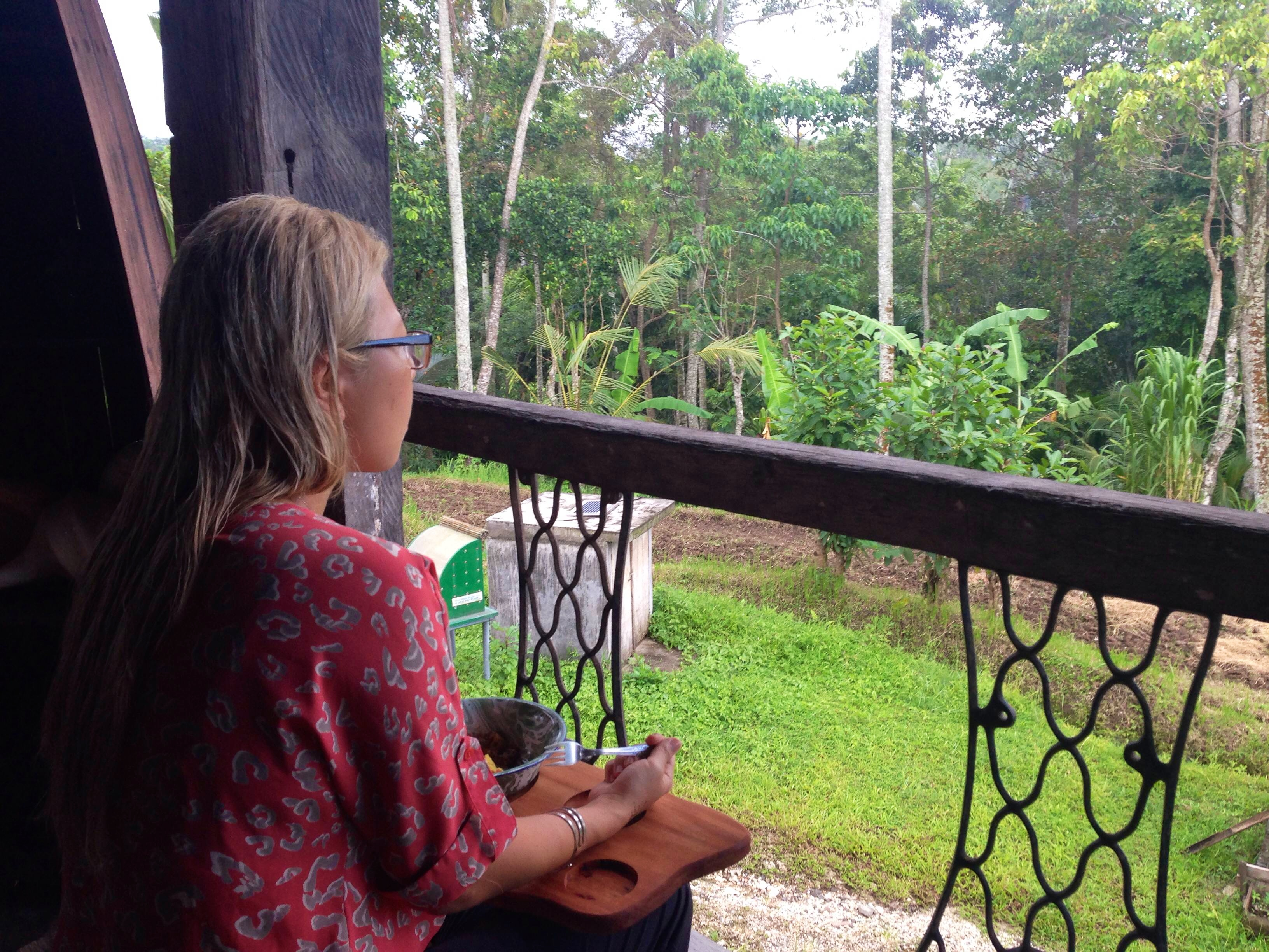 Sitting at Bali Silent Retreat with my breakfast.