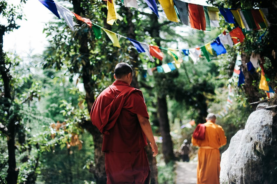 Monk Walking in Nepal