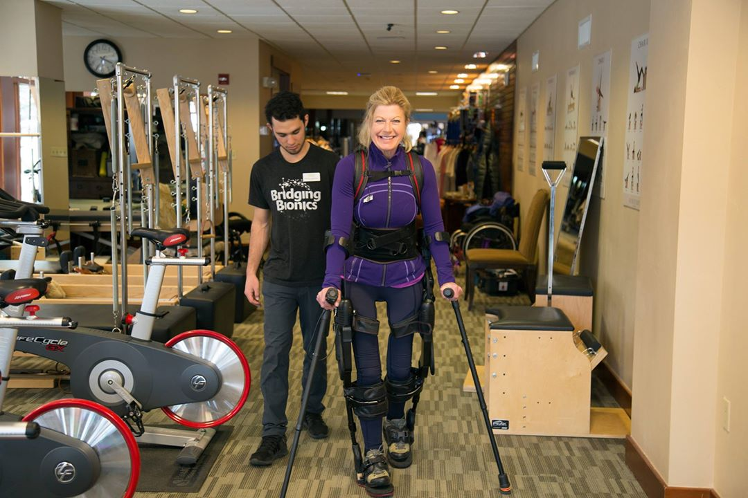 Amanda Boxtel featured in her exoskeleton suit.