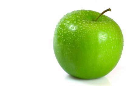 Green apple covered in water droplets isolated against a white background