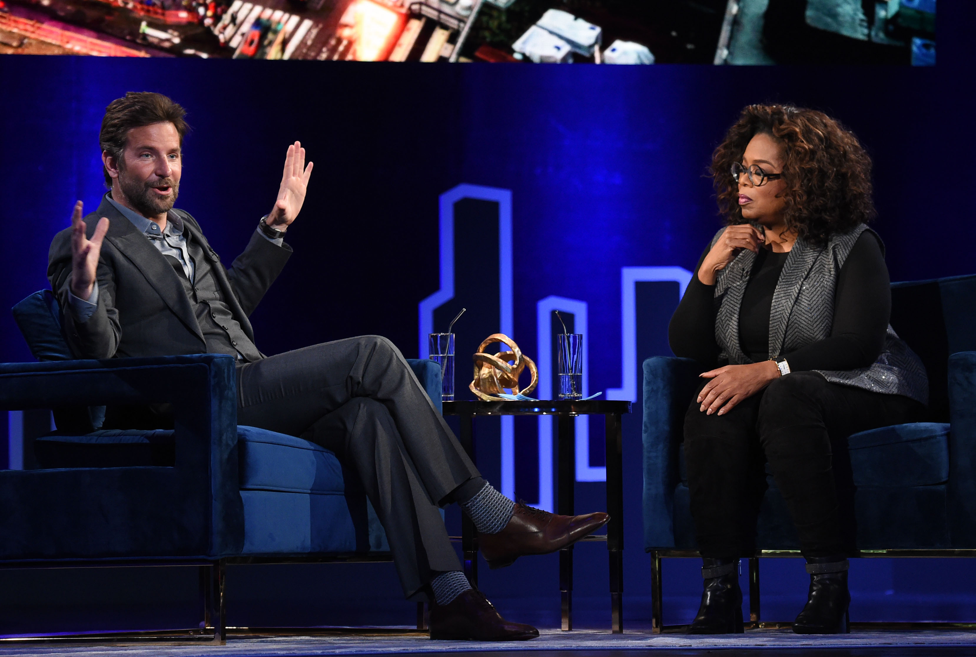 NEW YORK, NEW YORK - FEBRUARY 05: Bradley Cooper and Oprah Winfrey attend Oprah's SuperSoul Conversations at PlayStation Theater on February 05, 2019 in New York City. (Photo by Jamie McCarthy/Getty Images)