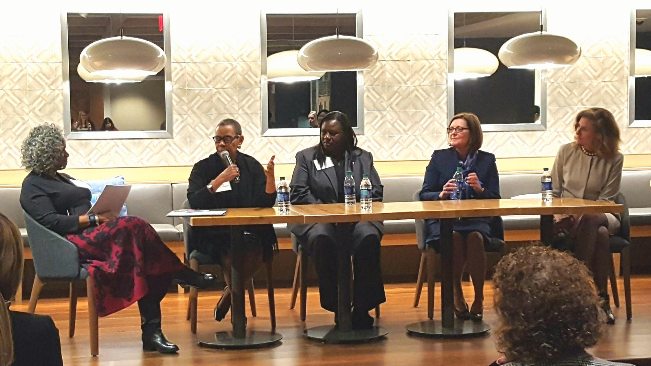 Monica Pearson, Moderator, with College Presidents Mary Schmidt-Campbell, Victoria Seals, Claire Sterk, and Pamela Whitten