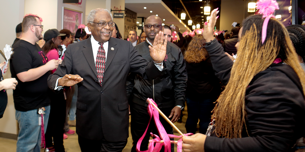 Congressman Jim Clyburn greets employees before an inspirational talk at T-Mobile's Customer Experience Center in Charleston.
