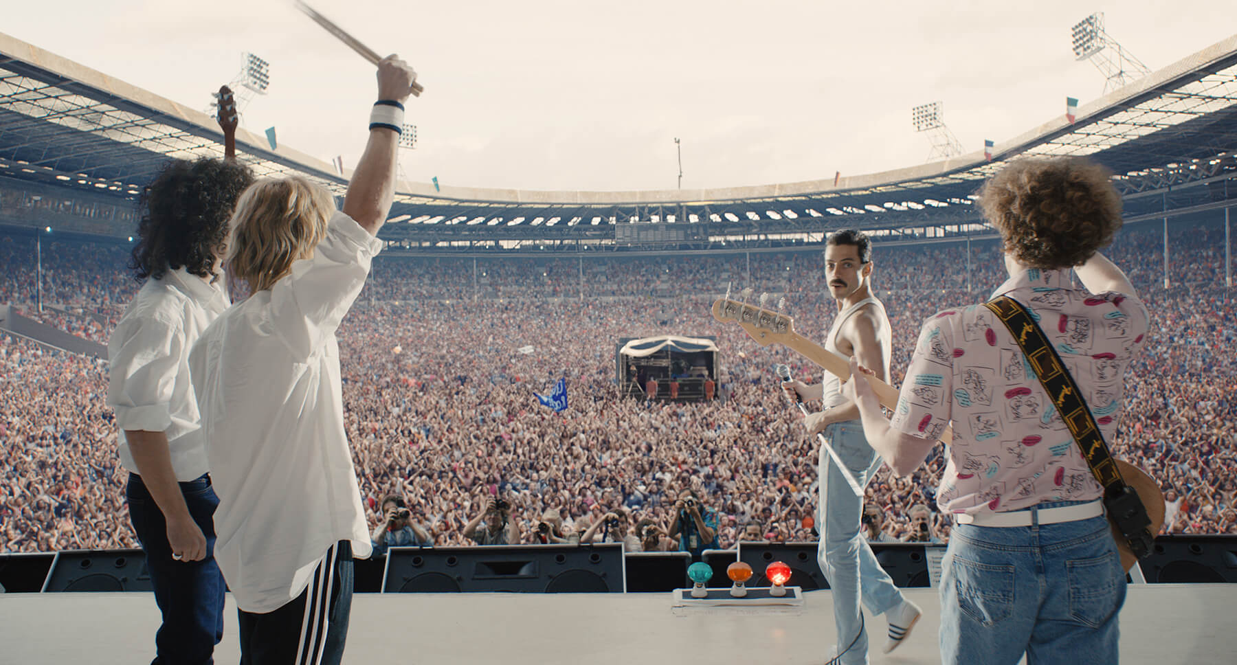 The film depicts Queen's performance at Live Aid, one of the most historic moments in rock and roll.