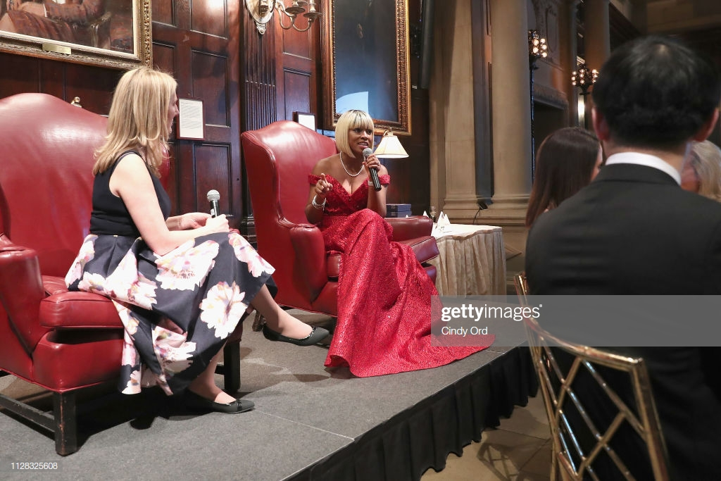 NEW YORK, NY - MARCH 01:  Moderator Bonita Thompson (L) and Founder and CEO of GC4W, Lilian Ajayi-Ore speak onstage during the GC4W Entrepreneurship Ball at The Harvard Club on March 1, 2019 in New York City.  (Photo by Cindy Ord/Getty Images  for GC4W Entrepreneurship Ball)
