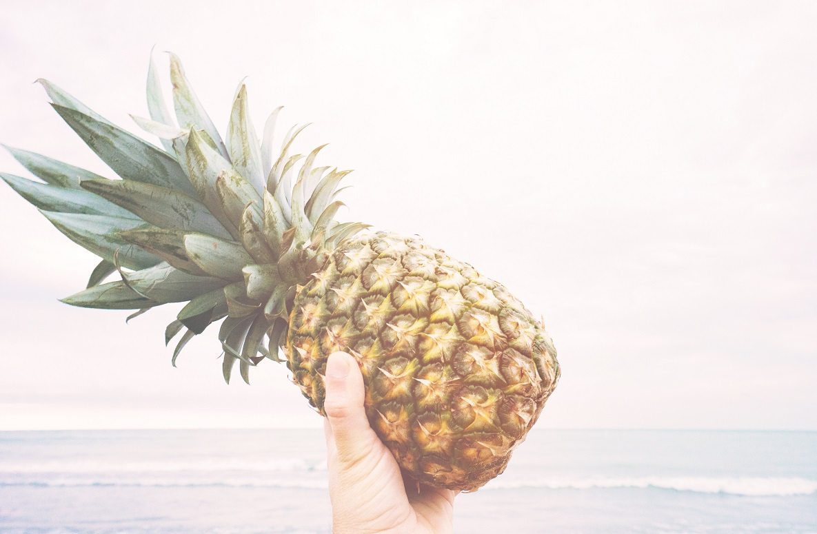 Hand holding pineapple in the sun