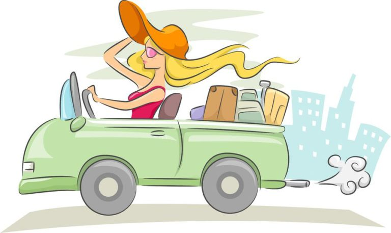 19253764 - illustration of a woman driving a convertible car