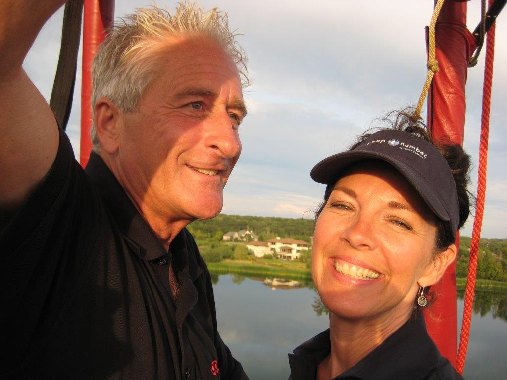 George and Shelly Ibach in a hot air balloon.