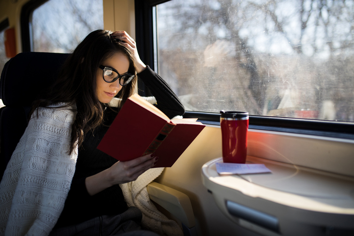 Women reading on train