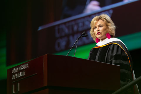 Pat Mitchell delivering 2019 commencement speech at University of Miami