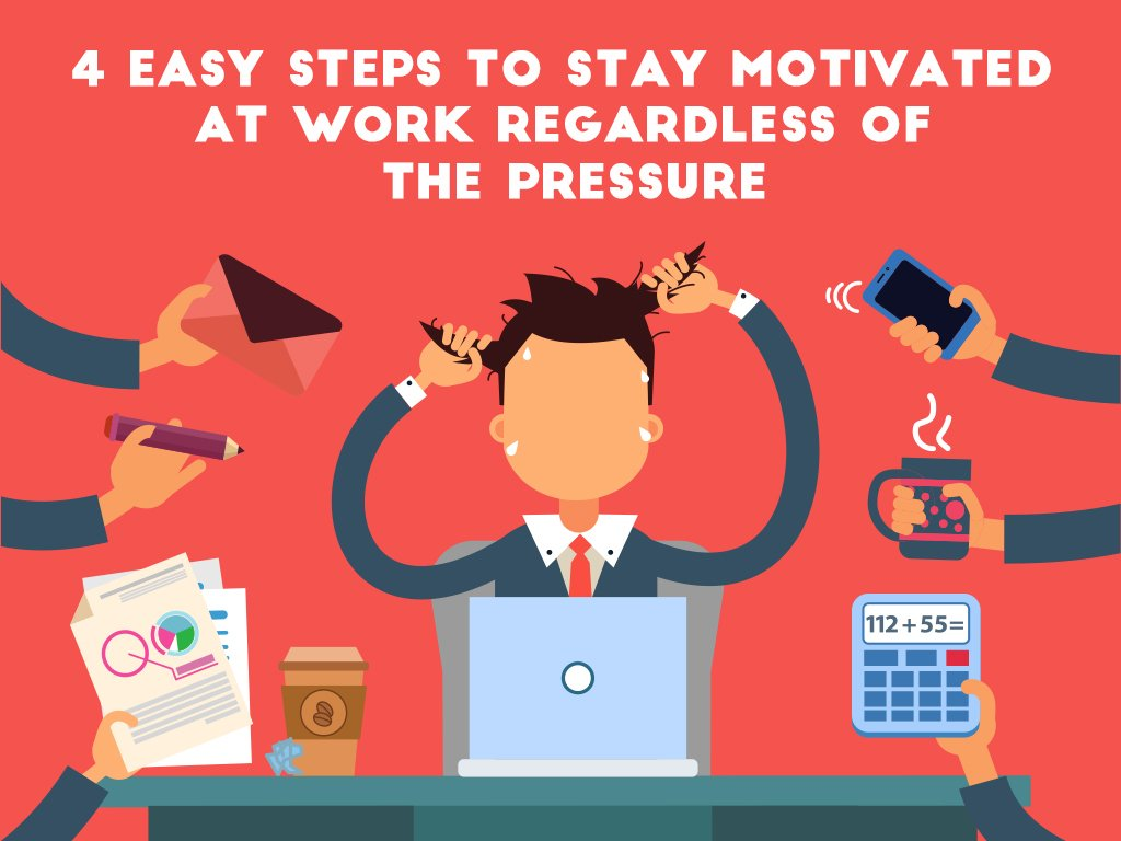 4 Easy Steps to Stay Motivated at Work Regardless of the Pressure