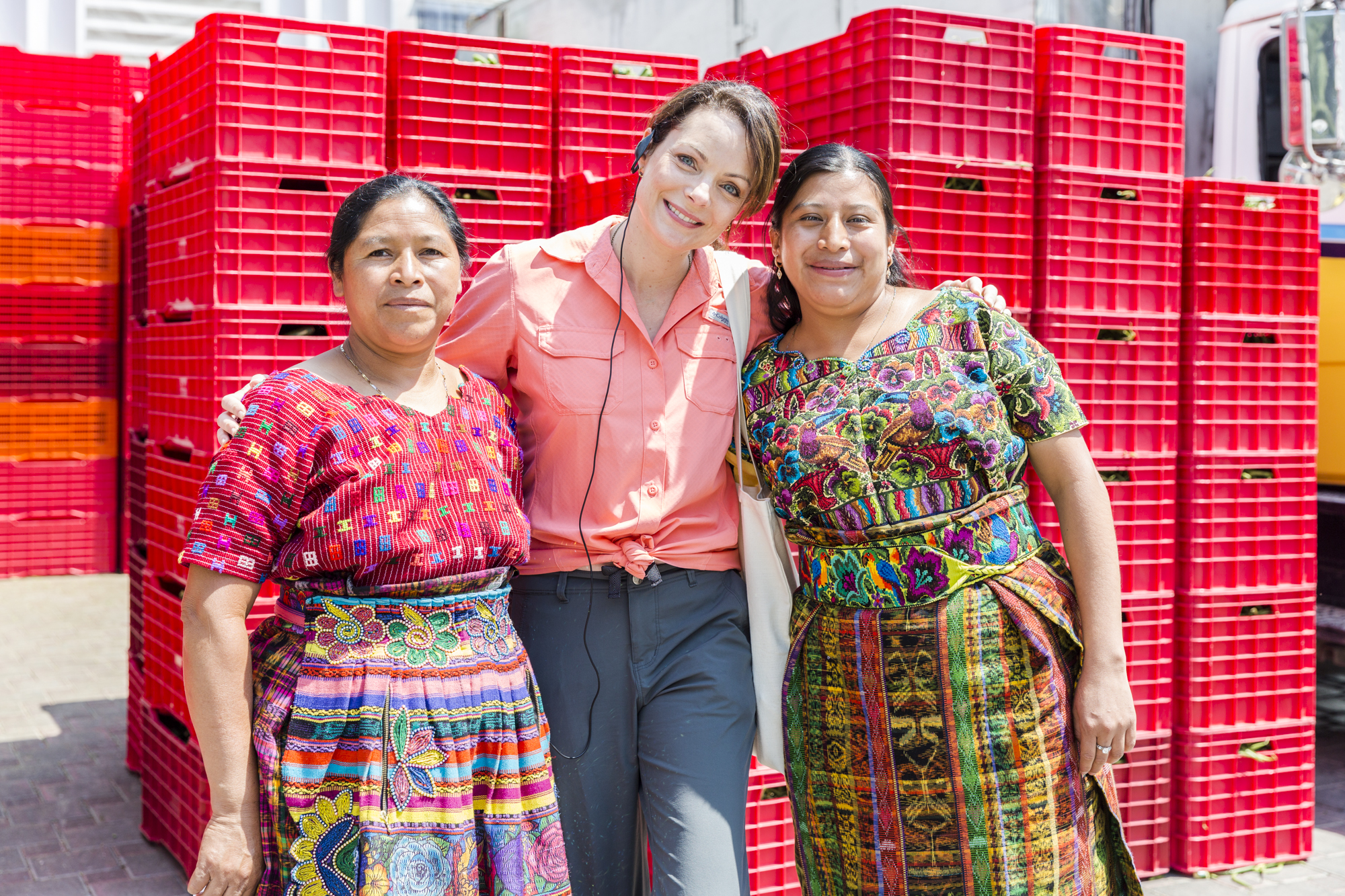 Kimberly Williams-Paisley visits a CARE H&M Empowering Small Rural Women Producers project were she visits the production plant for the first co-op in Guatemala owned and operated by women producers where she discussed the intersection of family violence and economic empowerment with women in the co - op.