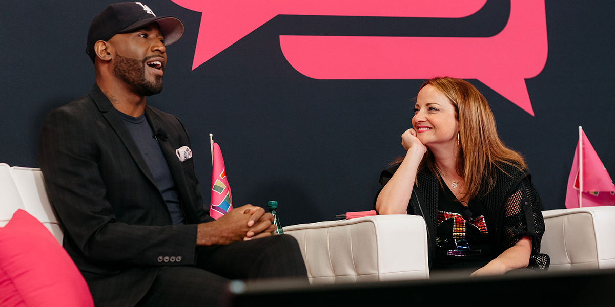 'Queer Eye' culture guru Karamo Brown with T-Mobile's Callie Field at the company's Talking with Trailblazers guest-speaker series.