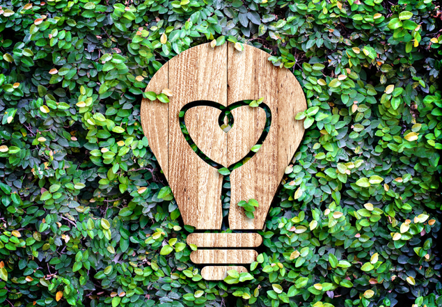 Light Bulb wood icon and heart shape inside on green leaf wall,Eco concept.