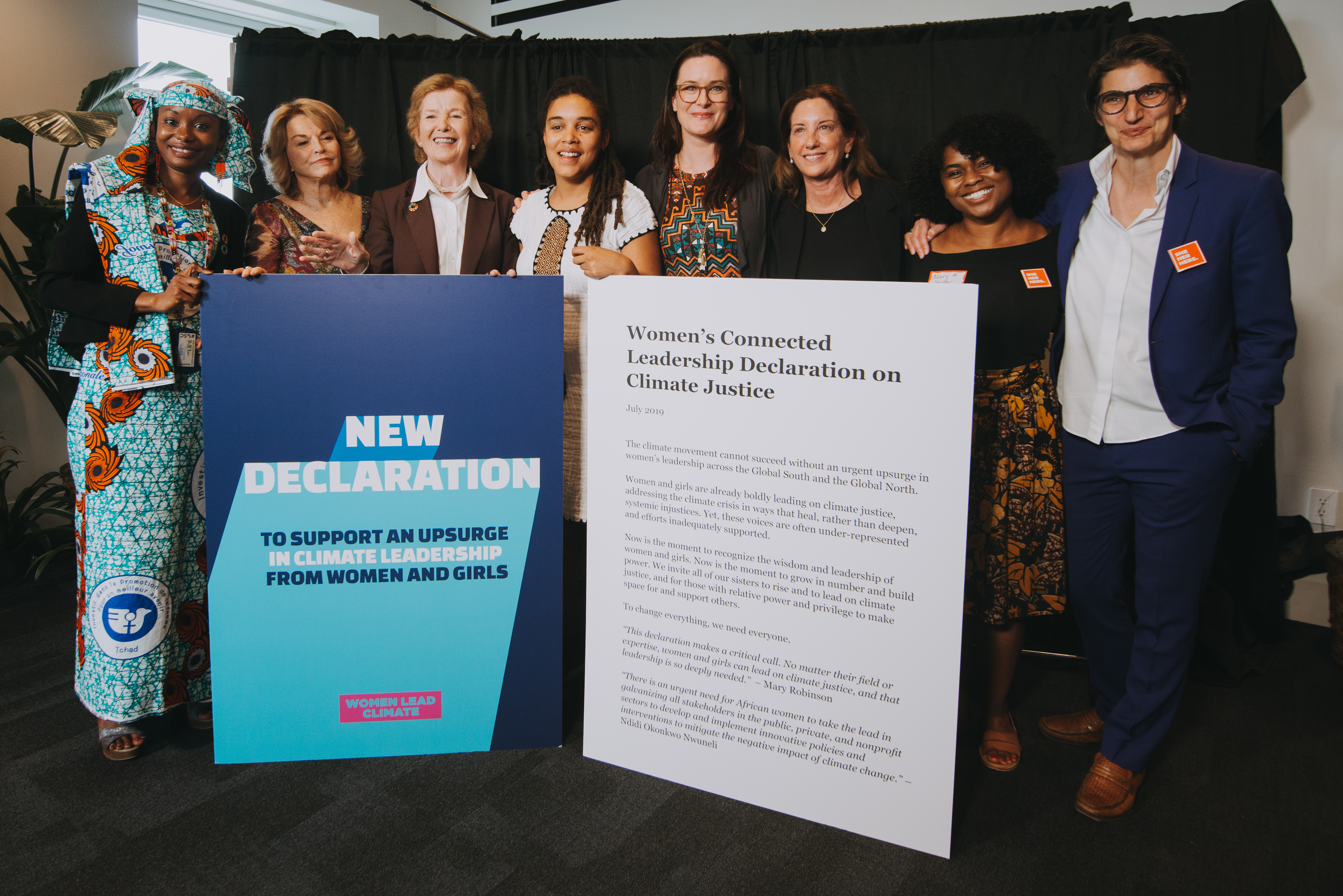 CWL Declaration on Climate Change announcement with (l-r) environmental activist Hindou Oumarou Ibrahim; CWL Forum co-convener Pat Mitchell; Mary Robinson, president of the Mary Robinson Foundation and former president of Ireland; climate activist Sarra Tekola; Dr. Katharine Wilkinson, Project Drawdown; CWL Forum co-convener Ronda Carnegie; NRDC Publications Director Mary Annaïse Heglar; and Doc Society Director Jess Search at the Doc Society Climate Story Lab.