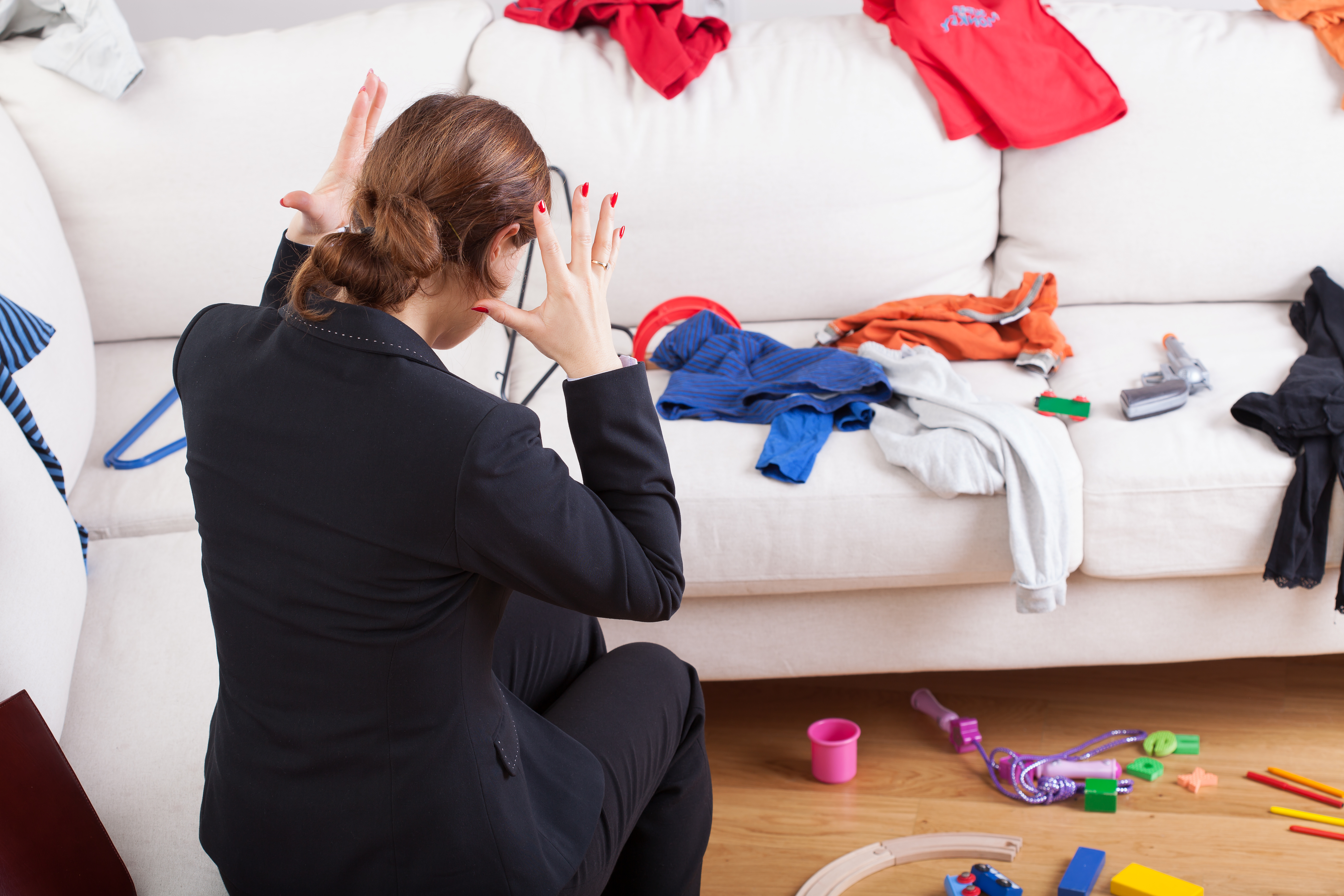 Young active woman can't stand a big mess what she has seen at home