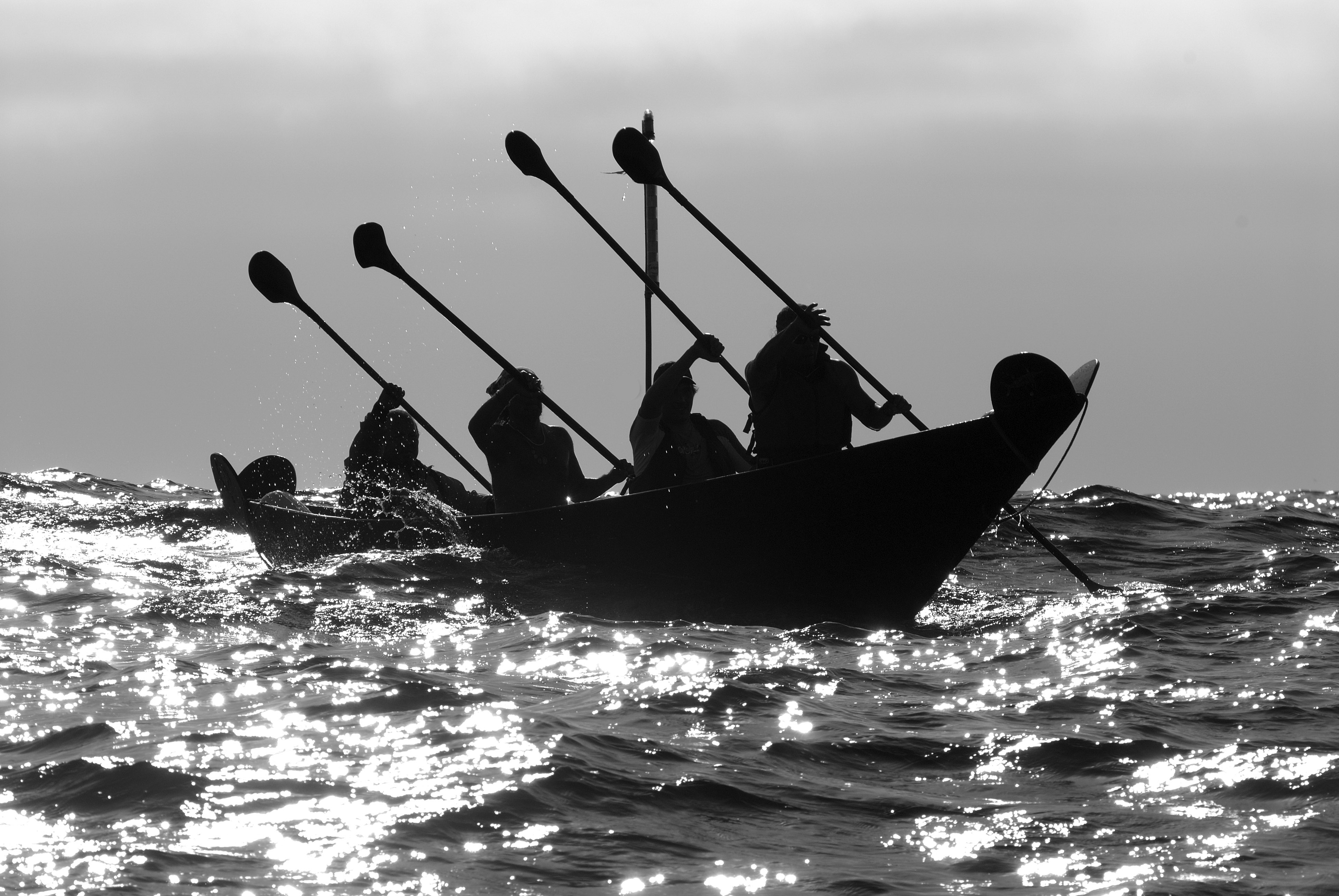 b/w picture of people rowing