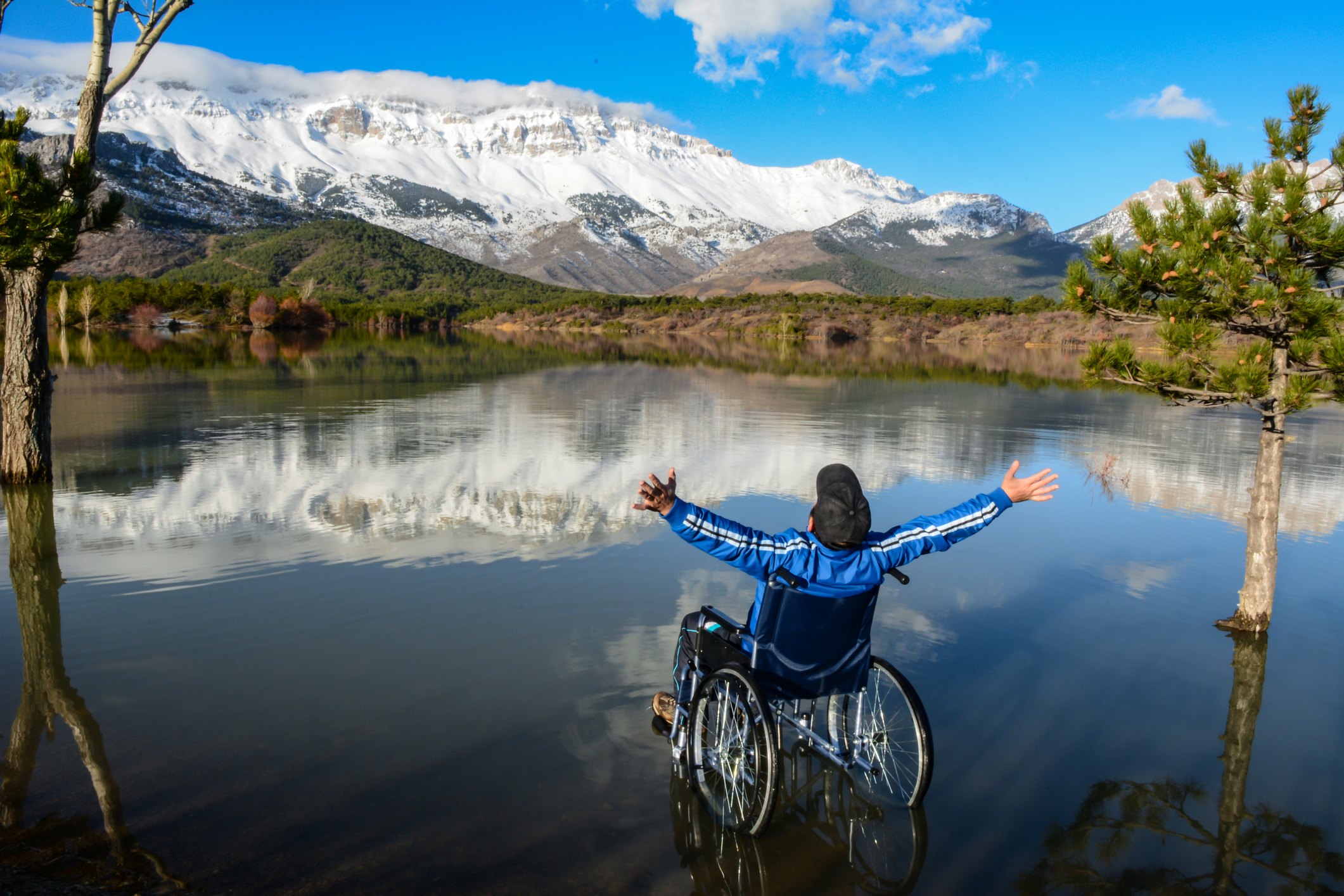 magnificent view of the lake from a wheelchair