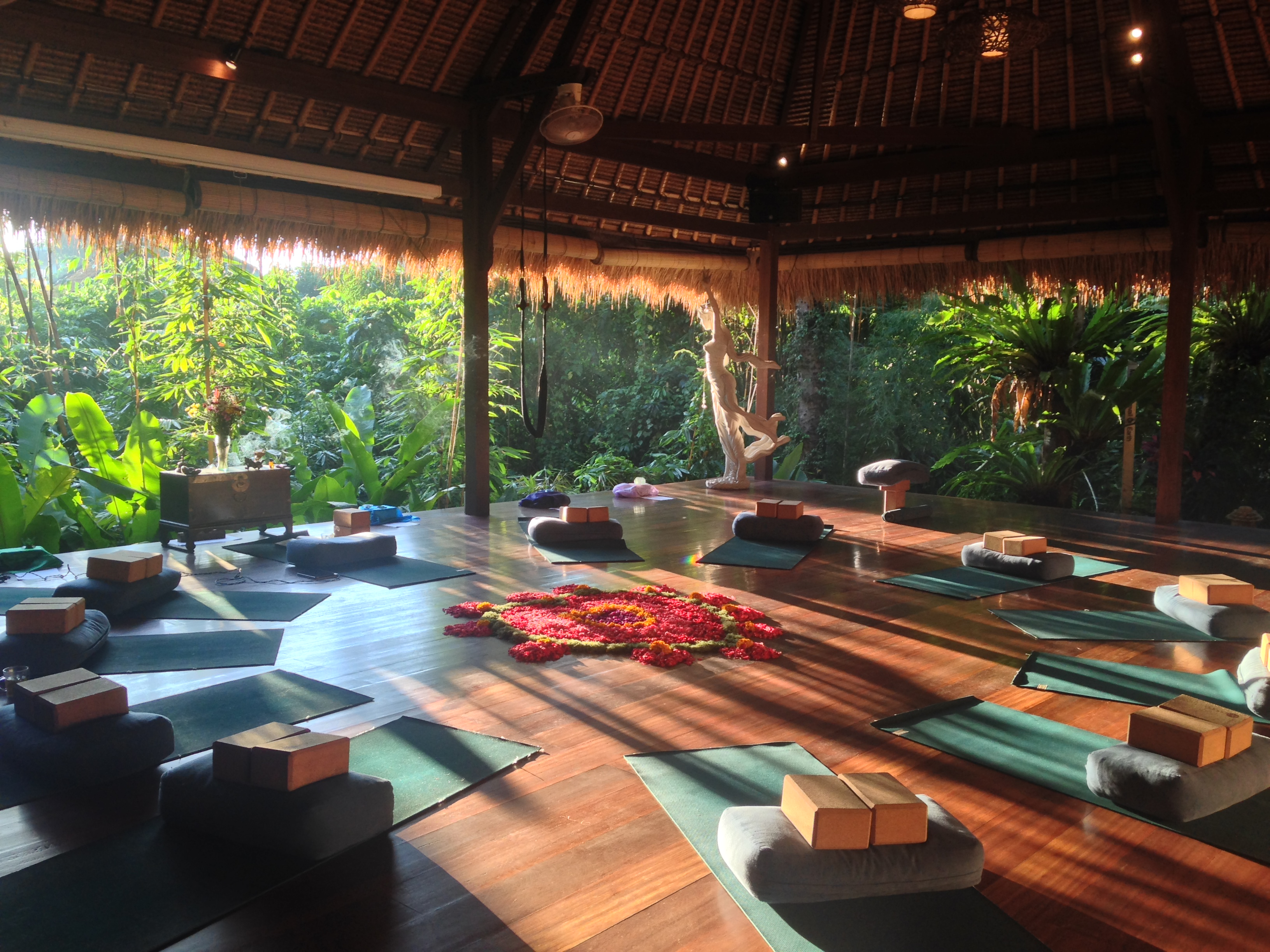Naya Ubud yoga shala—a thatched roof pavilion where yoga classes are typically held.