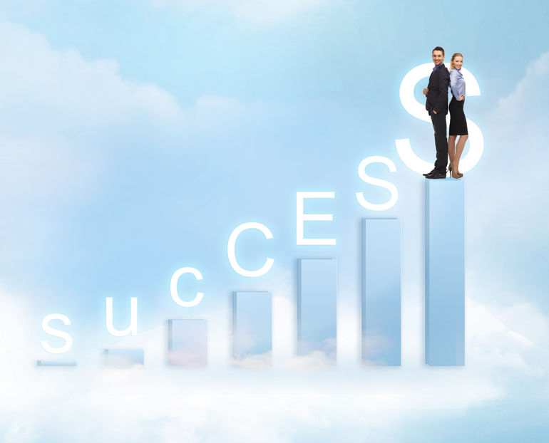 business and office - businessman and businesswoman on the top of chart with success word
