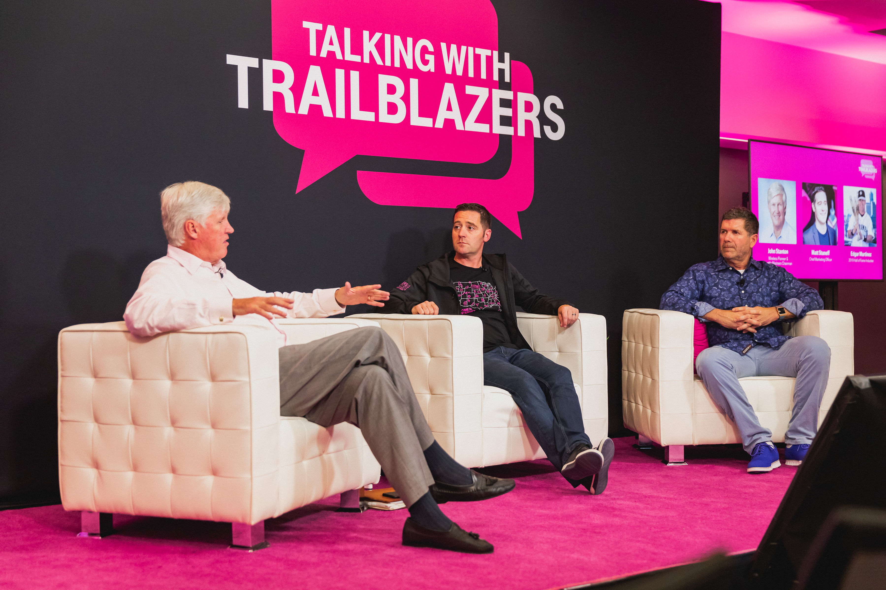 Seattle Mariners Chairman and wireless pioneer John Stanton (left) and MLB Hall of Famer Edgar Martinez (right) join T-Mobile's Chief Marketing Officer Matt Staneff (center) for the Talking with Trailblazers guest-speaker series.