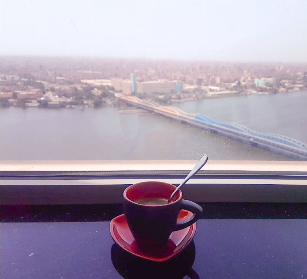 (A coffee cup overlooking Cairo, Egypt)