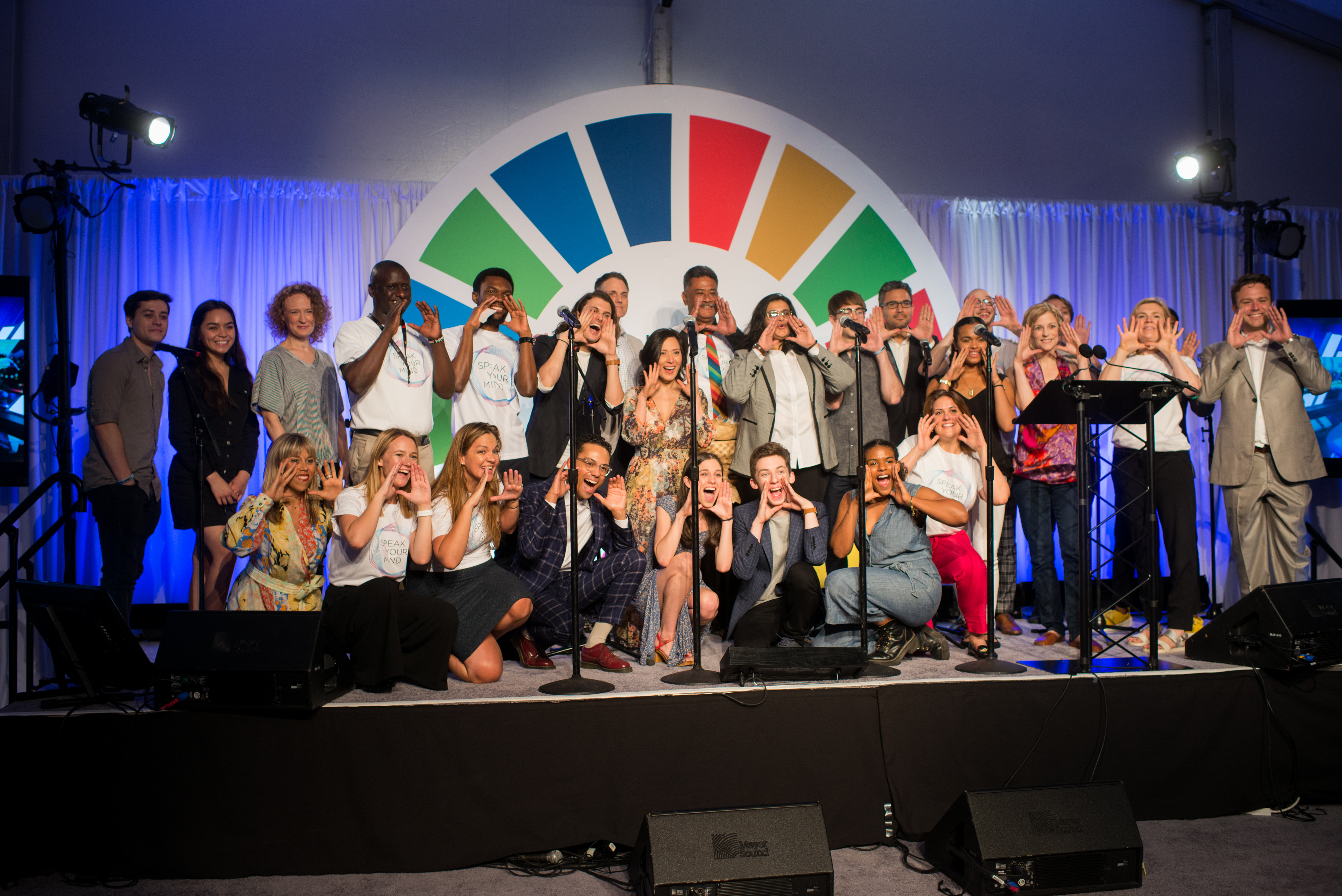 Image: Andrew Seng. United for Global Mental Health CEO Elisha London among speakers and the cast of Dear Evan Hansen at the launch of Speak Your Mind at the 2019 UN General Assembly.