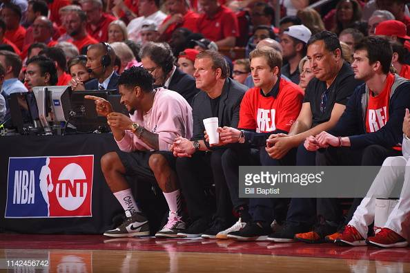 HOUSTON, TX - MAY 6:  Singer Usher and Houston Rockets owner Tilman Fertitta look on during Game Four of the Western Conference Semifinals between the Houston Rockets and Golden State Warriors of the 2019 NBA Playoffs on May 6, 2019 at the Toyota Center in Houston, Texas. NOTE TO USER: User expressly acknowledges and agrees that, by downloading and/or using this photograph, user is consenting to the terms and conditions of the Getty Images License Agreement. Mandatory Copyright Notice: Copyright 2019 NBAE (Photo by Bill Baptist/NBAE via Getty Images)