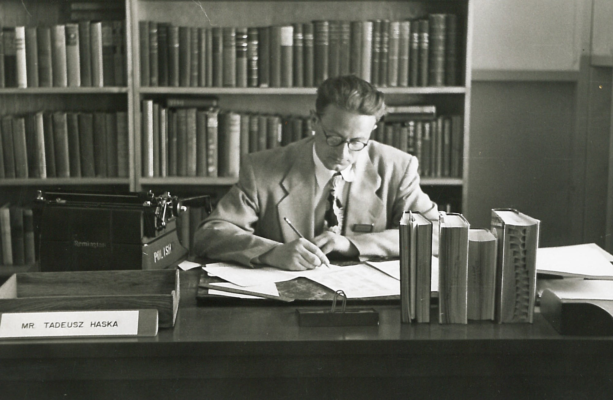 Tadeusz Haska working as an instructor at the Army Language School in 1951