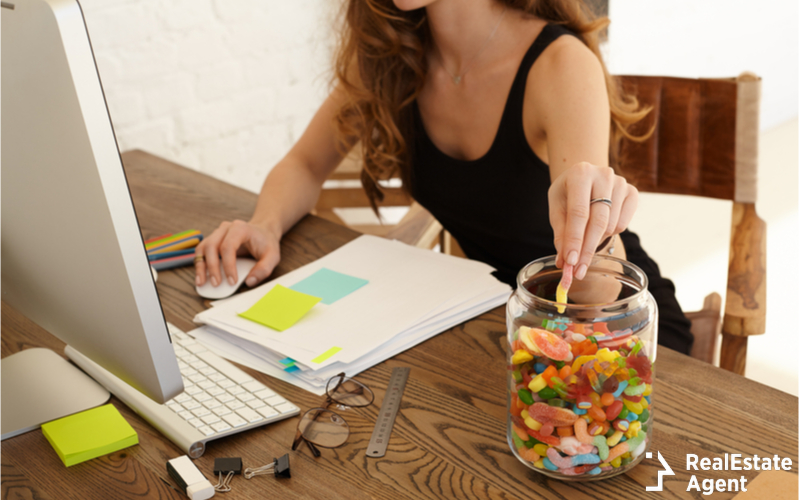 stressed woman eating sweets