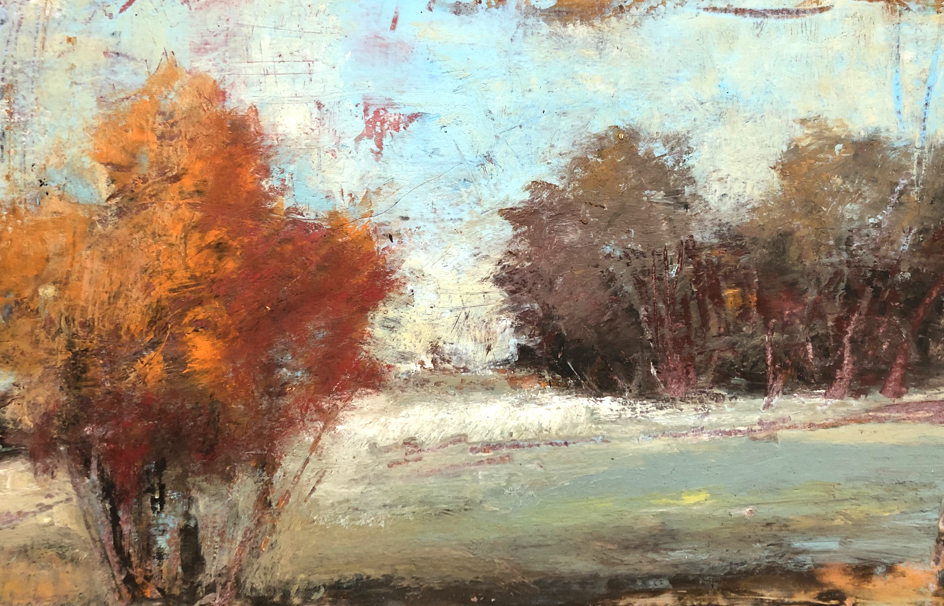 """""""Autumn Sketch"""" by 5 x 7"""" oil and cold wax medium on Arches Paper,  Rachael McCampbell © 2019"""