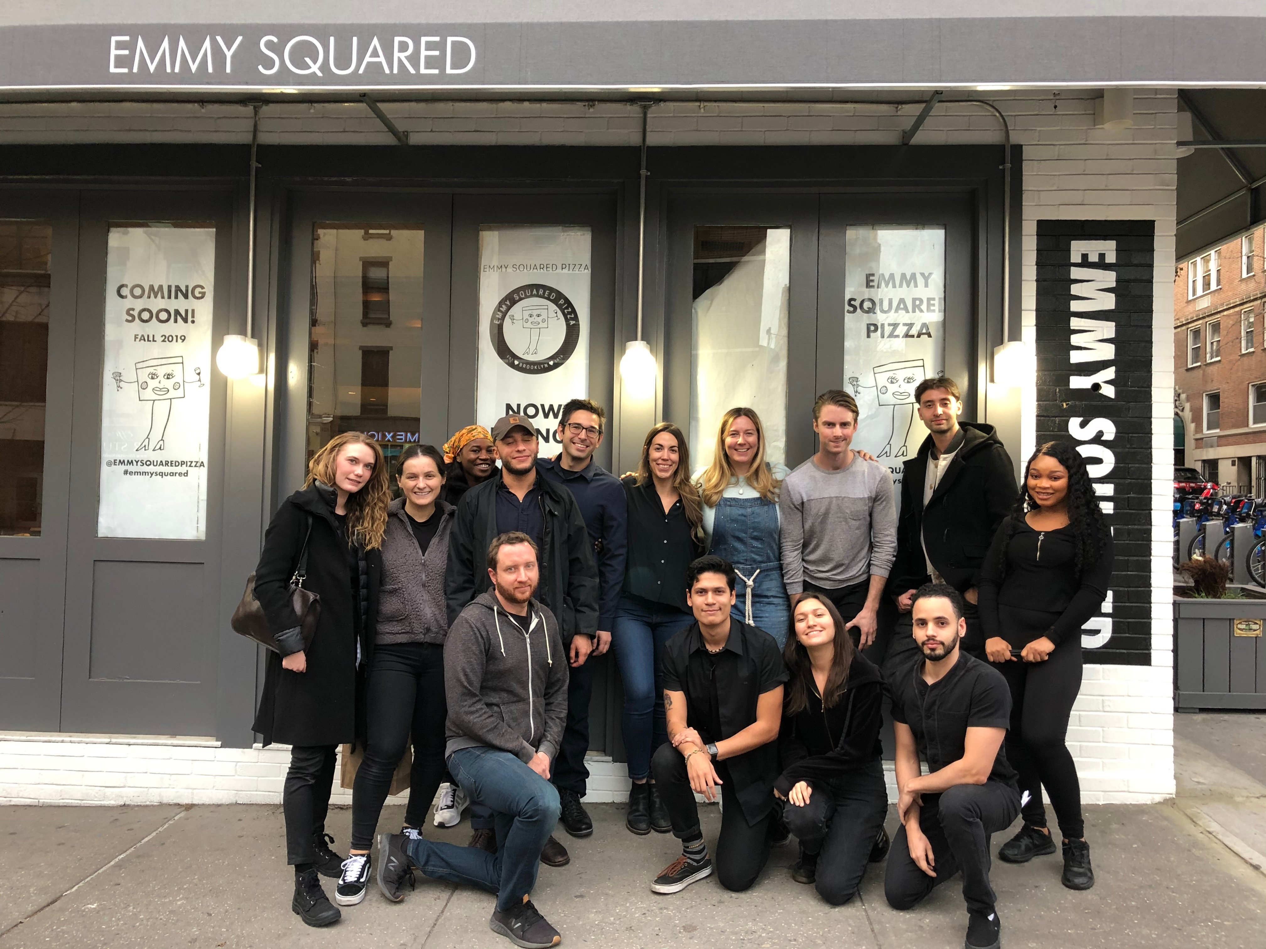 Emily Hyland with the Upper East Side team of their new restaurant, Emmy Squared.
