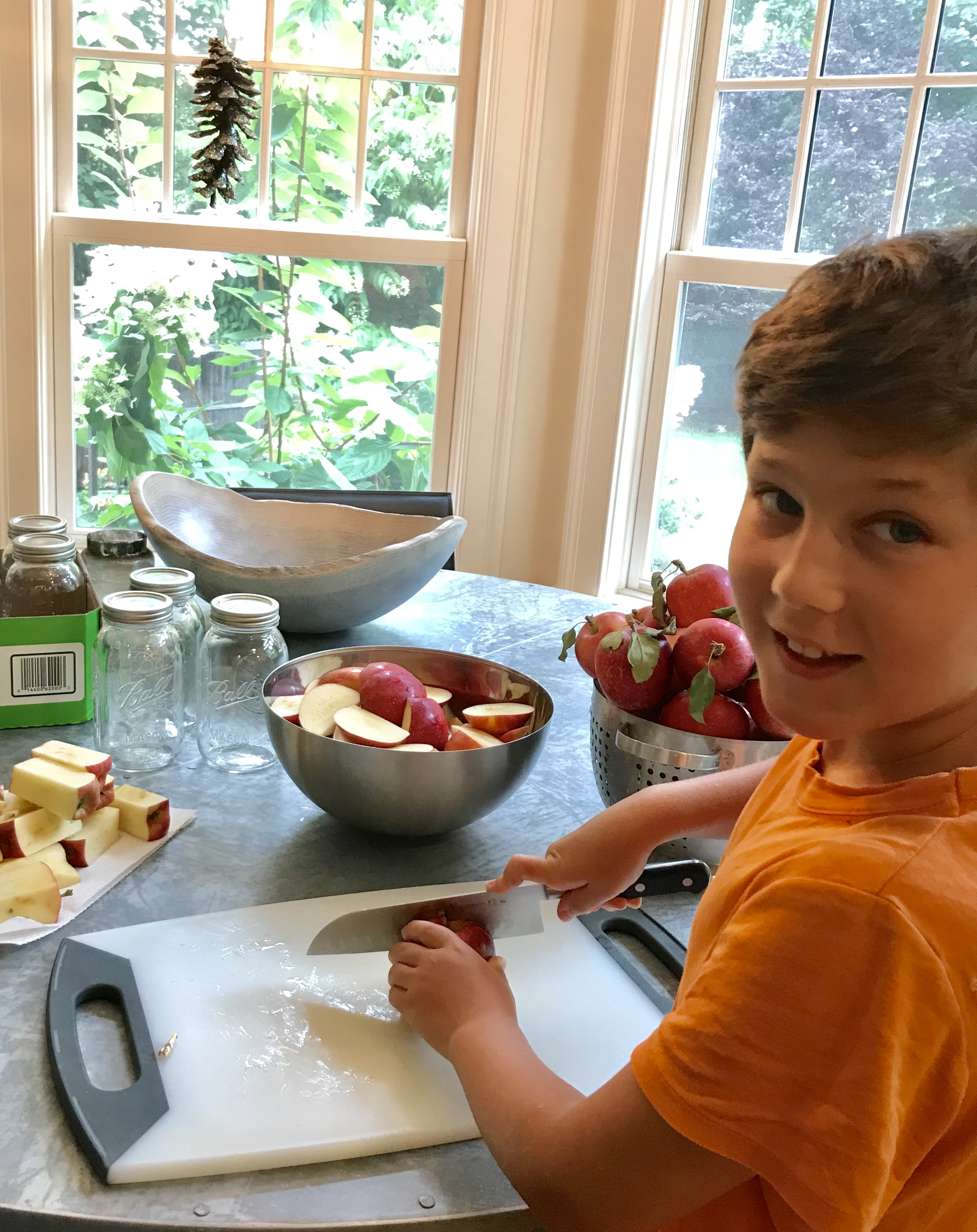 Chopping apples for Thanksgiving pies and fresh apple sauce!