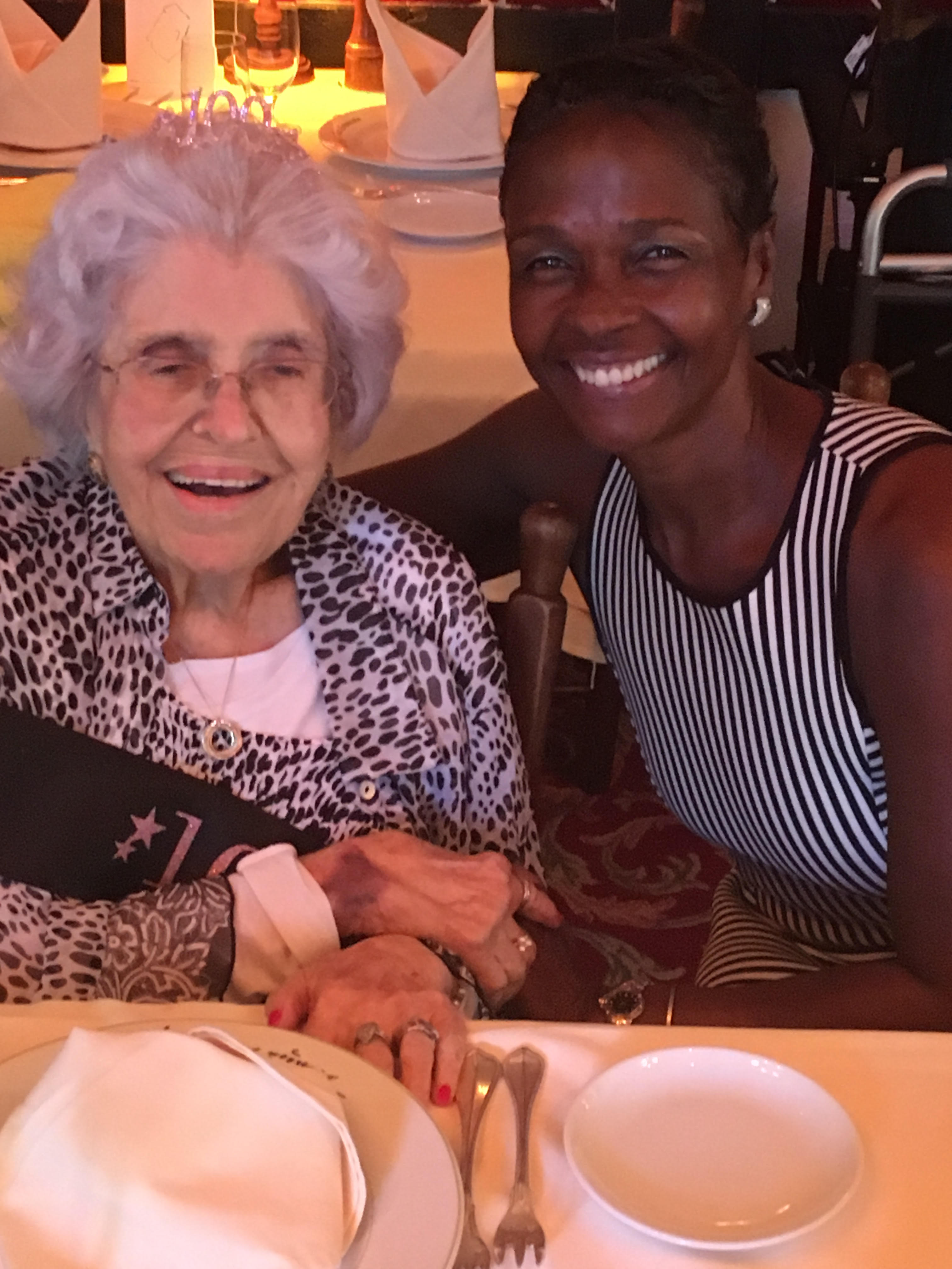 The author and her friend Mary Dacoba, at Mary's 100th birthday party.
