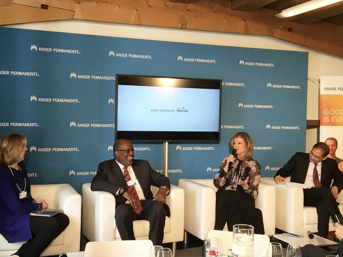 At the Kaiser Permanente Thrive lunch on the silent epidemic of mental health in Davos at the World Economic Forum's Annual Meeting 2017. @ariannahuff / Instagram.