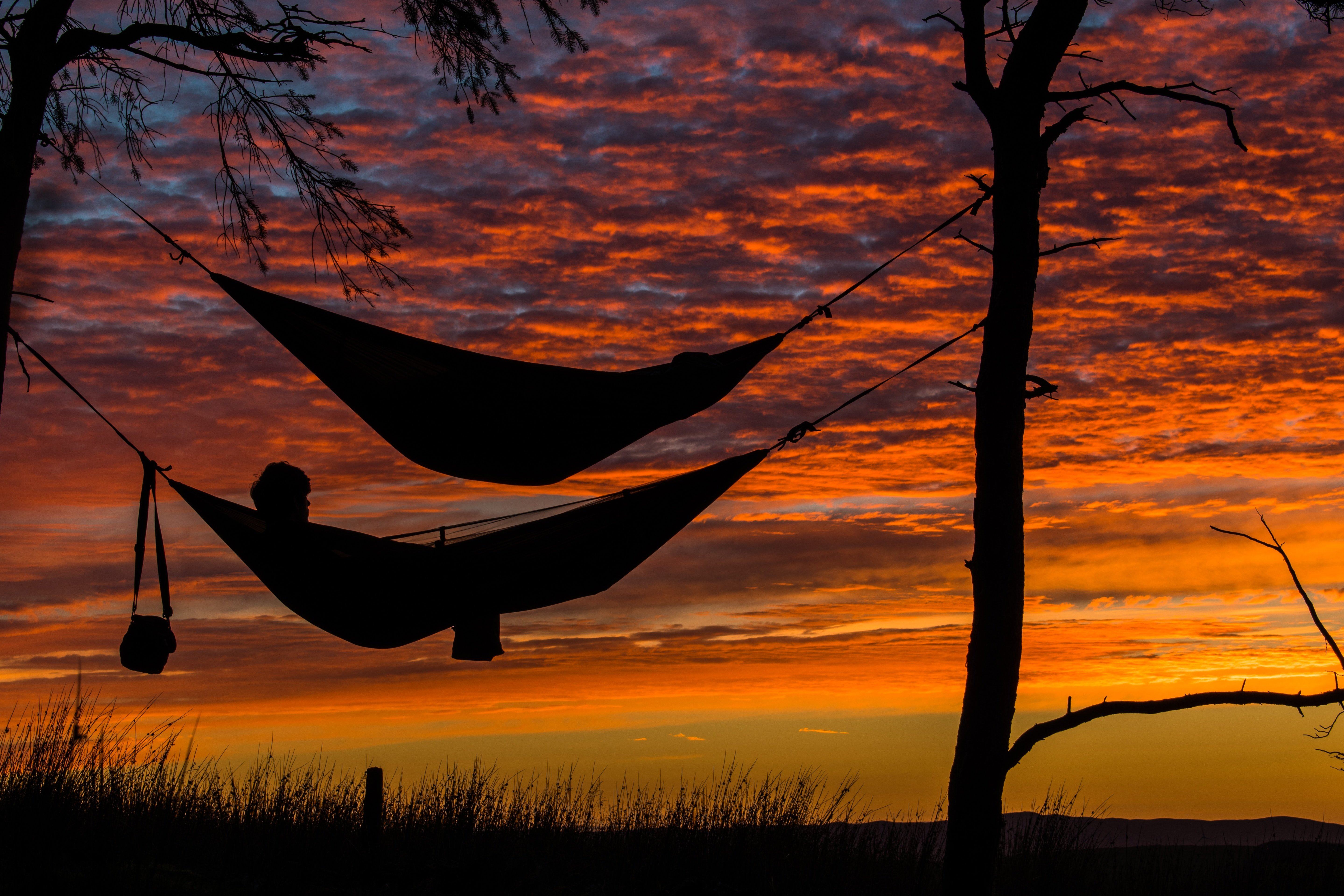 Two hammocks and a red sky: living off the grid